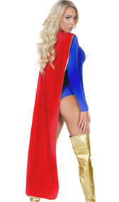 Full length hero cape with metallic piping and hook and loop closure.