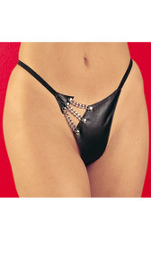 This leather g-string with elastic back has a seductive chain detailing that shows a tantalizing glimpse of skin.