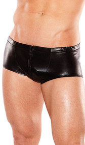 Men's sleek wet look shorts with front zipper fit like a second skin.