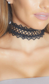 Crochet fence style choker with scalloped edges and adjustable lobster clasp closure.
