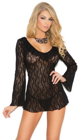 Long sleeve lace night shirt and matching g-string.