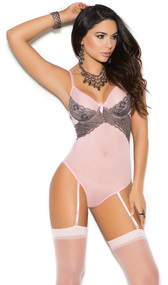 Sheer mesh teddy with contrast lace trim, underwire cups, satin bow, adjustable straps, thong back, hook and eye back closure, and adjustable garters.