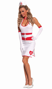 Vaccinating Vixen nurse costume includes dress, gloves, waist cincher, belt and hat. Five piece set.