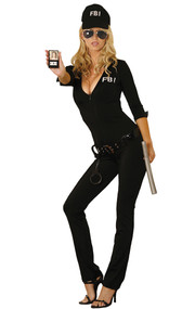 Sexy FBI Agent costume includes zip front jumpsuit, vinyl belt, handcuffs, hat, sunglasses, badge and baton. Back reads Federal Body Inspector.