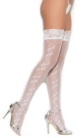 Sheer thigh highs with floral side seam and stay up silicone lace top.