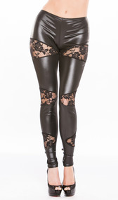 Wet look leggings feature sheer floral lace cut out panels. Four way stretch for a perfect fit.