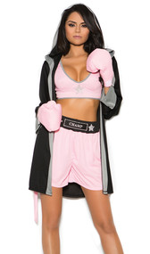 Prizefighter boxer costume includes deep v crop top, shorts with CHAMP on waistband, hooded robe with CHAMP on back, and boxing gloves. Four piece set.