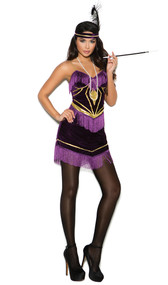 Foxy Flapper costume includes velvet mini dress with fringe detail and adjustable straps, feather headband, and necklace. Three piece set.