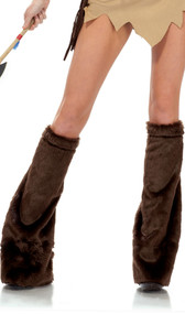 Faux fur leg warmers with velcro closure. Fits over your own shoes or boots. Pair.