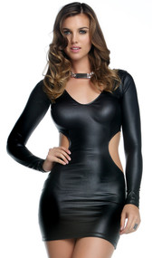 Matte finish long sleeve dress with plunging V neck and wrap-around cutout.