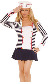 Sailor costume includes: striped long sleeve mini dress with collar and hat with anchor detail. Two piece set.