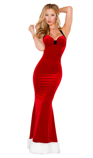 Santa's Fantasy costume includes a sleeveless long velvet gown with low back, halter neck, and faux fur trim.