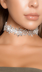 """Rhinestone flower bloom choker with adjustable lobster clasp closure. Measures about 1-1/8"""" tall."""