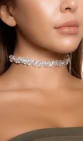 """Rhinestone bubble choker with adjustable lobster clasp closure. Measures about 1/2"""" tall."""