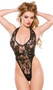 Lace and wet look halter teddy with strappy thong back.