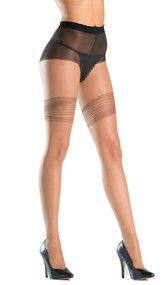 Opaque tights with thigh ribbon design and faux laced panty.