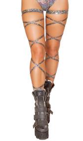 "Broken glass leg wraps with attached garter. 2 per package. 100"" long. Wrap parts measure 3/8"" wide, garters measure 1"" wide."