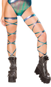 Iridescent leg wraps with attached garter.