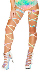 "Velvet tie dye leg wraps with attached garter and o ring detail. 2 per package. 100"" long. Wrap parts measure 3/8"" wide, garters measure 1"" wide."