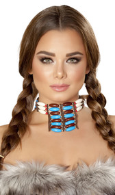 Beaded necklace on faux leather cord that ties behind the neck.