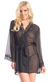 Front tie sheer short robe with scalloped lace collar and sleeve trim.