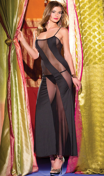 Diagonal mesh and microfiber gown features peek a boo sheer lines and adjustable straps. G-string included. Two piece set.