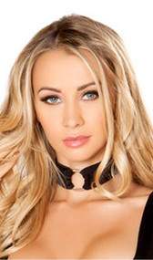"""Choker featuring silver o ring and back hook and loop closure. Measures about 1-1/4"""" wide."""