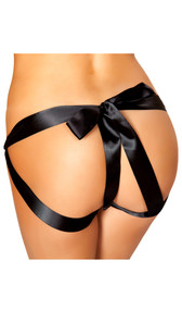 Satin bow panty features a see through lace front with scalloped trim, o ring detail on sides, and a satin bow tie open back. Bow can be untied, so it is adjustable.