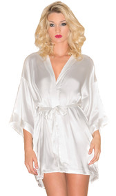 Satin robe with three quarter sleeves, inside front tie, and satin sash.