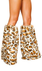 Leopard print fuzzy legwarmers with elastic top. Pair.