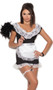 French Maid costume includes short sleeve mini dress with underwire cups and lace trim, matching panty with back side lace ruffle, apron, and leg garter. Four piece set.