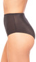 High waisted full brief with glossy finish.
