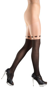 Two toned pantyhose with faux knee high and wrap around hearts design.