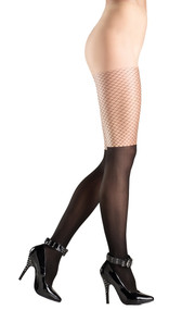 Two toned sheer pantyhose with faux fishnet thigh.