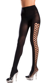Opaque Spandex pantyhose with multi fence net sides.