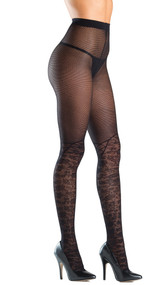 Sheer fishnet and faux knee high floral pattern tights with flat seams and gusset.