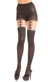 Opaque pantyhose with faux bow garter strap detail.