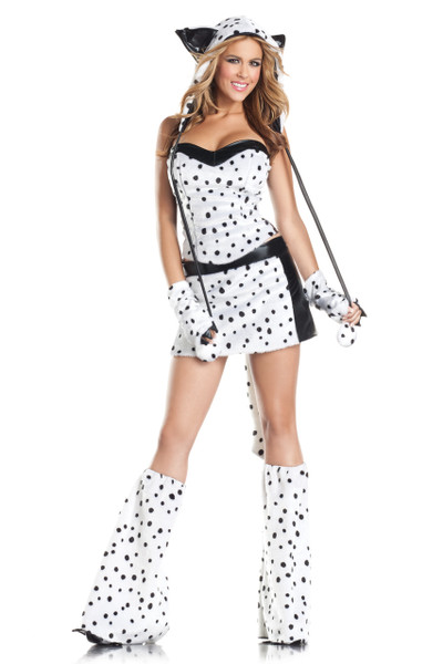 Darling Dalmation costume includes lace up corset, skirt, leg warmers, hood, wrist cuffs, and tail. Eight piece set.