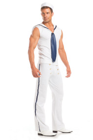 Savvy Sailor costume includes sleeveless top with collar, pants and necktie. Three piece set.