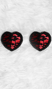 Satin and lace heart shaped pasties with embroidered edges. Self adhesive. Pair.
