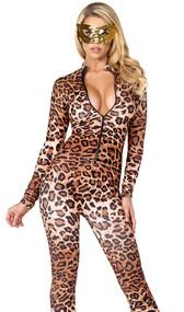 Leopard print zip front catsuit.