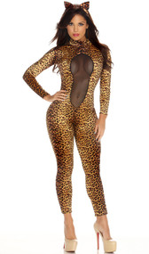 Kitty Kat costume includes animal print cat suit featuring a cut out mesh bodice and matching cat ear headband. Two piece set.