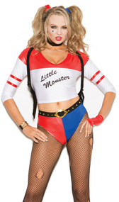 Wild Child costume includes three quarter sleeve top that says Little Monster, booty shorts, fingerless gloves, shoulder holster, belt and hair ties. Six piece set.