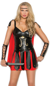 Sultry Spartan warrior costume includes mini dress with attached cape, adjustable straps and back zipper closure. Lace up arm guards also included. Two piece set.