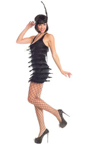Flirtatious Flapper costume includes sleeveless fringe dress and faux pearl necklace. Two piece set.