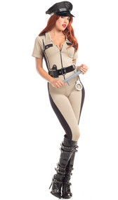 Dazzling Deputy costume includes short sleeve jumpsuit, belt, handcuffs, and baton. Four piece set.