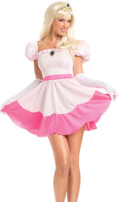 Perilous Princess costume includes short sleeve dress, pin, and tiara. Three piece set.