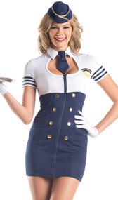 Mile High Service flight attendant costume includes short sleeve dress with zipper front, collar and faux button detail, neck tie, and hat. Three piece set.