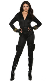 Secret Agent costume includes long sleeve zip front jump suit, belt, utility belt with drop down leg gun holsters, fingerless gloves, and bullet bracelets. Five piece set.