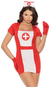 Naughty Nurse costume includes short sleeve mini dress, matching head piece, and gloves. Three piece set.